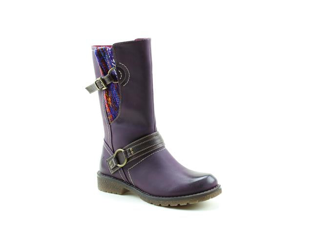 Heavenly Feet Ella Purple Womens Casual Comfort Vegan Friendly Calf Boots