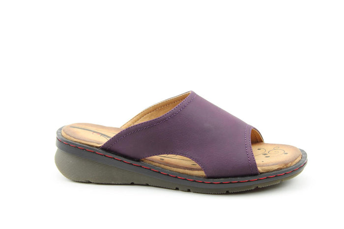 Heavenly Feet Ginger Purple Womens Casual Comfort Slip On Sandals