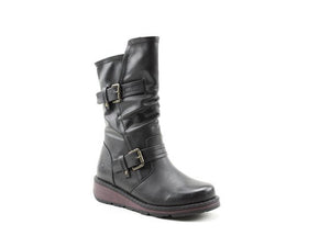 Heavenly Feet Hannah Black Womens Casual Comfort Vegan Friendly Calf Boots