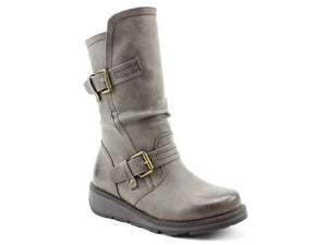 Heavenly Feet Hannah Grey Womens Casual Comfort Vegan Friendly Calf Boots