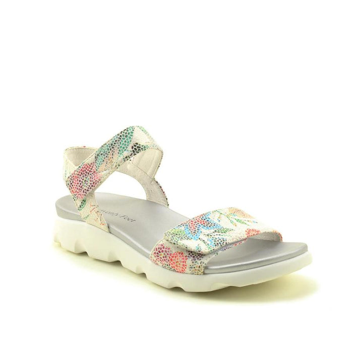 Heavenly Feet Heidi White Floral Women's Casual Comfort Touch Fastening Sandals