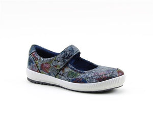 Heavenly Feet Madonna Navy Floral Women's Casual Mary Jane Shoes