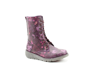 Heavenly Feet Martina Purple Floral Womens Casual Comfort Funky Calf Boots