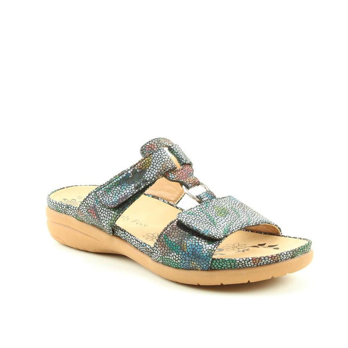 Heavenly Feet Megan Navy Floral Womens Casual Comfort Sandals