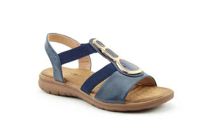 Heavenly Feet Palm Navy Womens Casual Comfort Slingback Sandals