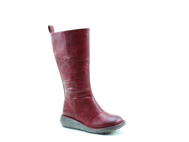 Heavenly Feet Robyn Claret Womens Casual Comfort Vegan Friendly (Wider Fit) Calf Boots