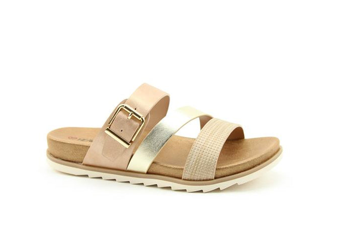 Heavenly Feet Rosemary Gold Multi Womens Casual Comfort Sandals