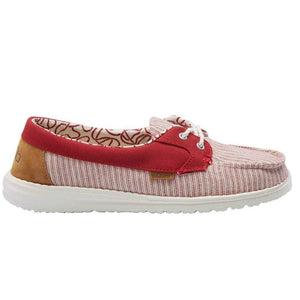 Hey Dude Ladies Lily Stripes Red Pull On Comfort Shoe