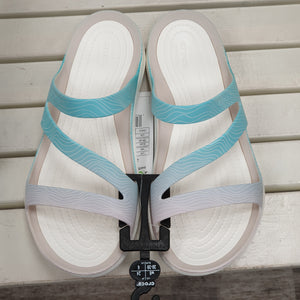 Crocs Swiftwater Sandal Pool Ombre/White 205637 Womens Flexible Slip On Sandals