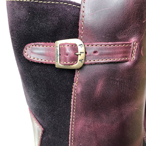 Fly London Mes Purple Womens Real Leather/Suede Stylish Zip Low Wedge Calf Boots