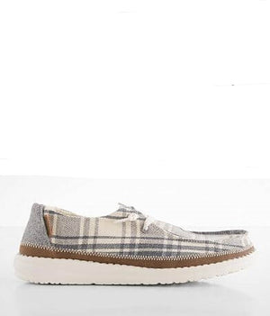 Dude Wendy Plaid Grey Women's Slip On Canvas Relaxed Fit Shoes