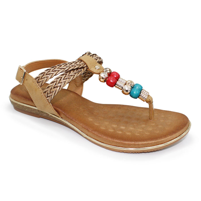 Lunar Arlo Beige Womens Beaded Braided Buckle Ankle Strap Sandals
