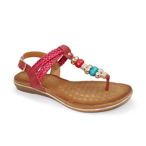 Lunar Arlo Burgundy Womens Beaded Braided Buckle Ankle Strap Sandals