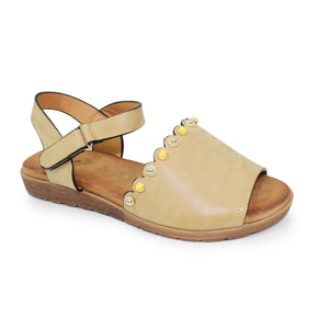 Lunar JLH 059 Loretto Beige Women's Coloured Stone Inlay Scalloped Edge Sandals