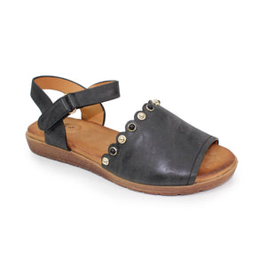 Lunar JLH 059 Loretto Black Women's Coloured Stone Inlay Scalloped Edge Sandals