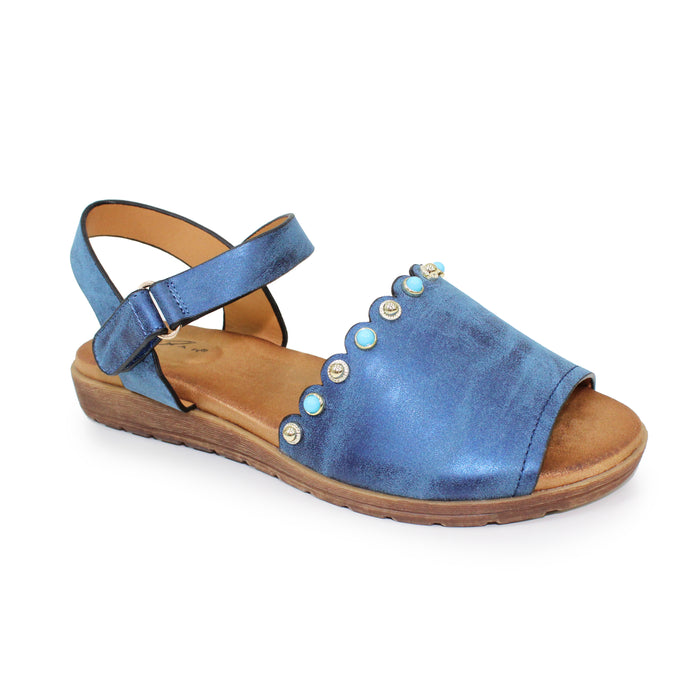 Lunar JLH 059 Loretto Blue Women's Coloured Stone Inlay Scalloped Edge Sandals