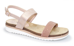 Lunar JLM 001 Estonia Pink Women's Fashion Glitter metallic Ankle Strap Sandal