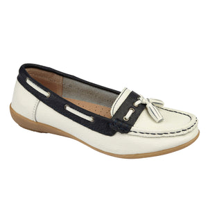 Jo & Joe Nassau White/Navy Womens Casual Comfort Leather Boat Shoes