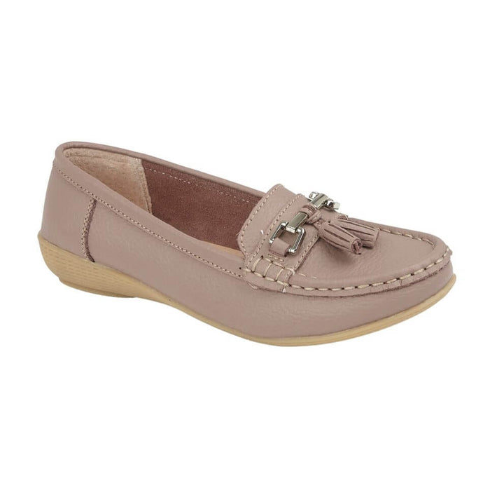 Jo & Joe Nautical Dusky Rose Womens Slip On Leather Loafers Moccasin Casual Shoe