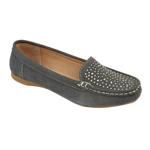 Jo & Joe Azora Grey Womens Casual Comfort Slip On Loafers
