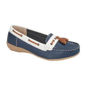 Jo & Joe Nassau Dark Blue/White Womens Casual Leather Boat Shoes