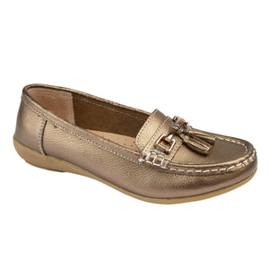 Jo & Joe Nautical Bronze Womens Slip On Leather Loafers Moccasin Casual Shoes