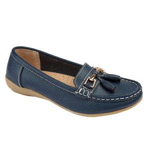 Jo & Joe Nautical Dark Blue Women's Slip On Leather Loafers Moccasin Casual Shoe
