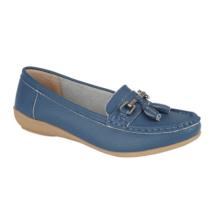 Jo & Joe Nautical Denim Womens Slip On Leather Loafers Moccasin Casual Shoes