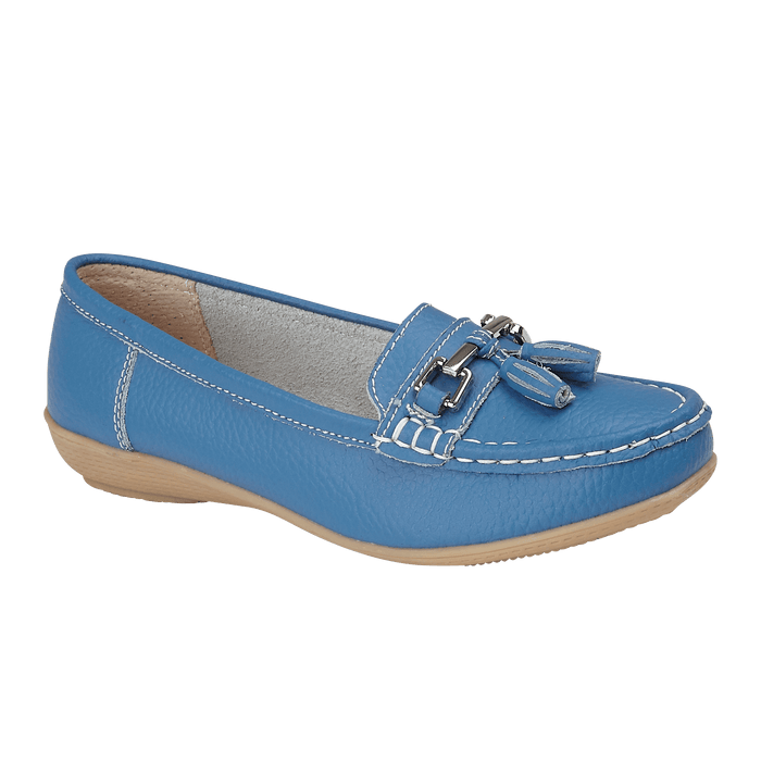 Jo & Joe Nautical French Blue Womens Slip On Leather Loafers Moccasin Casual Sho