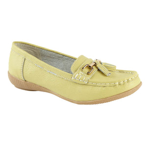 Jo & Joe Nautical Lime Women's Slip On Leather Loafers Moccasins Casual Shoes