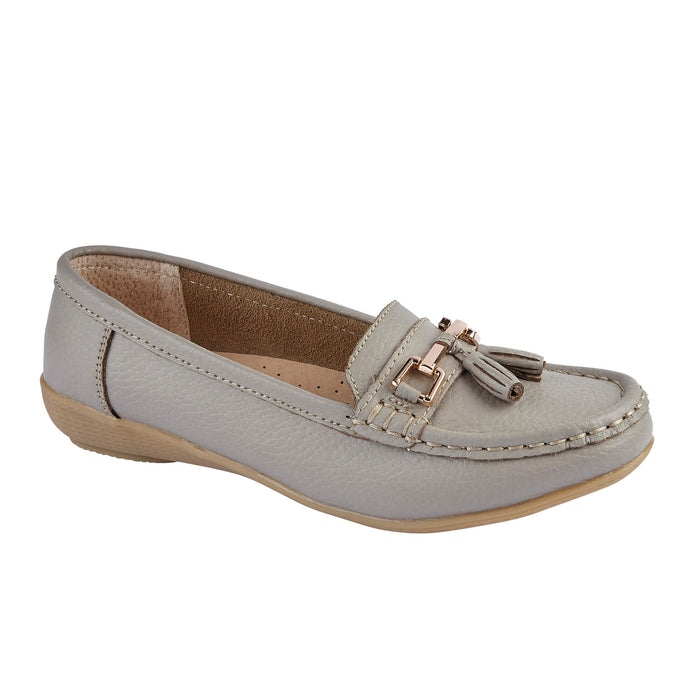 Jo & Joe Nautical Mushroom Women's Slip On Leather Loafers Moccasins Casual Shoe