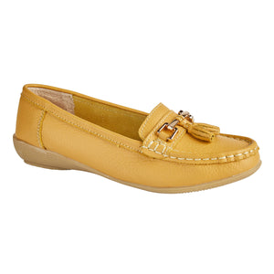 Jo & Joe Nautical Mustard Womens Slip On Leather Loafers Moccasins Casual Shoes