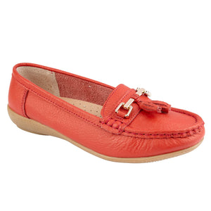 Jo & Joe Nautical Red Womens Slip On Leather Loafers Moccasin Casual Shoes