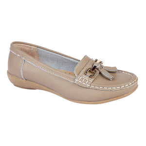 Jo & Joe Nautical Taupe Women's Slip On Leather Loafers Moccasins Casual Shoes