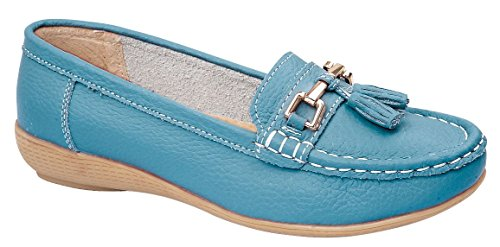 Jo & Joe Nautical Teal Women's Slip On Leather Loafers Moccasins Casual Shoes