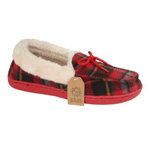 Jo & Joe Pembroke Red Tartan Womens Comfort Moccasin Slippers