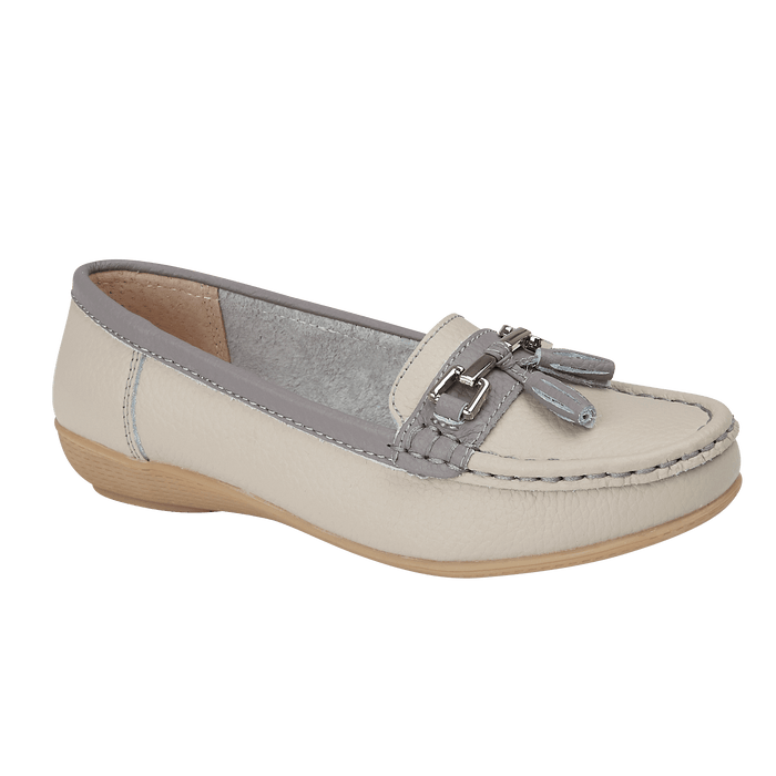 Jo & Joe Seafairer Smoke/Fossil Womens Casual Comfort Leather Loafers