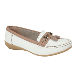 Jo & Joe Seafairer White/Mocha Womens Casual Comfort Suede Leather Loafers