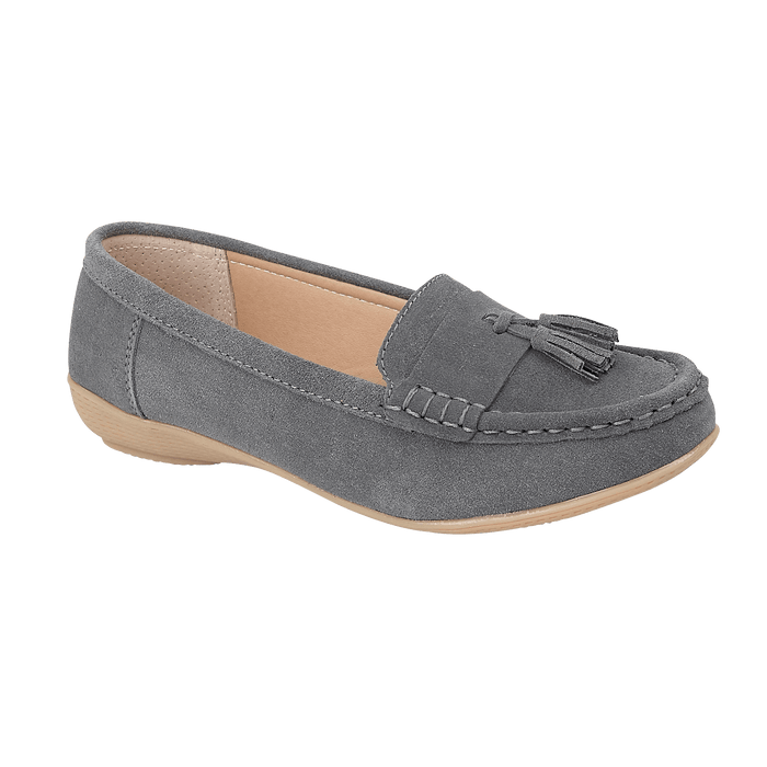 Jo & Joe Seaham Grey Womens Casual Comfort Suede Leather Loafers