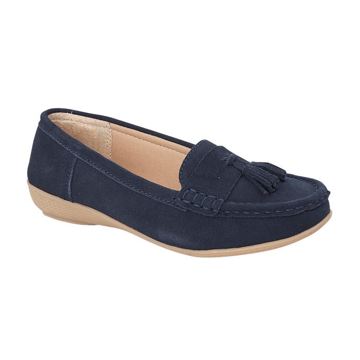 Jo & Joe Seaham Navy Womens Casual Comfort Suede Leather Loafers