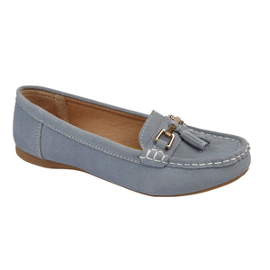 Jo & Joe Shoreside Baby Blue Womens Casual Suede Leather Loafers