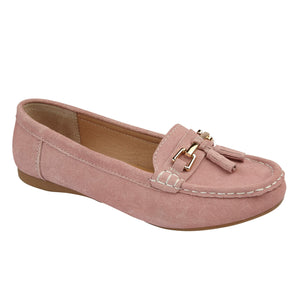 Jo & Joe Shoreside Blush Womens Casual Suede Leather Loafers