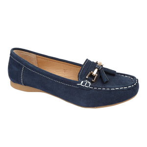 Jo & Joe Shoreside Navy Womens Casual Suede Leather Loafers