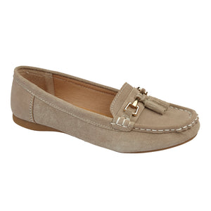 Jo & Joe Shoreside Taupe Womens Casual Suede Leather Loafers