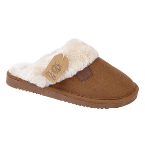 Jo & Joe Wicklow Cognac Womens Comfort Fur Slipper Mules