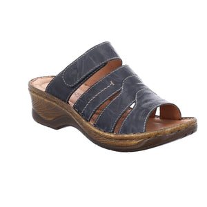 Josef Seibel Catalonia 49 Blau Womens Casual Comfort Leather Mule Sandals