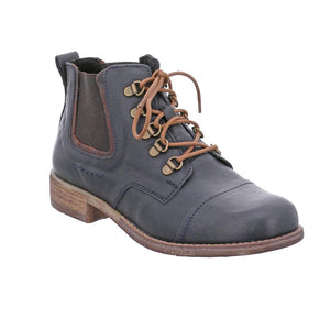 Josef Seibel Sienna 09 Ocean/Marone Navy Womens Leather Lace Up Ankle Boots
