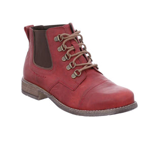 Josef Seibel Sienna 09 Rot-Kombi Red Womens Leather Lace Up Chelsea Ankle Boots