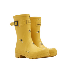 Joules Molly Welly Gold Bees Womens Casual Comfort Mid Height Wellingtons