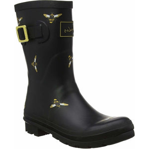 Joules Molly Welly Black Bees Womens Casual Comfort Mid Height Wellingtons